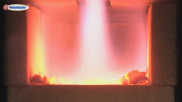The combustion principle of the Solarbayer wood log boiler HVS